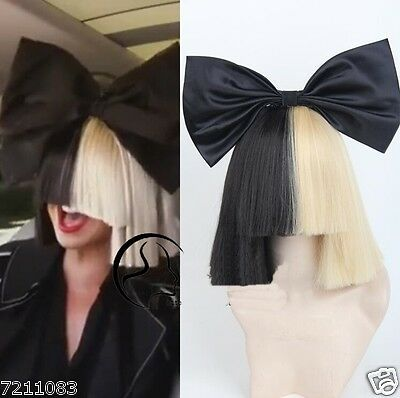 Fashion sexy Women's Wigs Short Half Blonde and Black Straight Cosplay for Sia