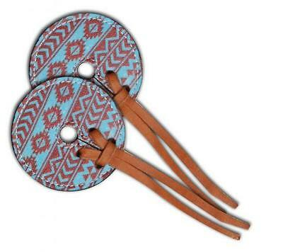 Showman TEAL/BROWN Navajo Diamond Bit Guards! SOLD IN PAIRS! NEW HORSE TACK!