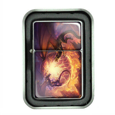 Windproof Refillable Oil Lighter with Gift Box Dragon Design-009 Custom Fantasy