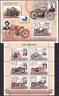 Comoros 2008 Motorcycles sheet of 6 + S/S MNH**