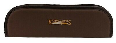 """RANDALL KNIFE CASE with SHEATH STRAPS & EMBROIDERED LOGO - 14"""" BROWN - USA MADE!"""