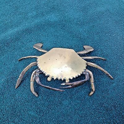 Brass Crab Trinket/Jewelry Holder or Ashtray with Hinged Lid