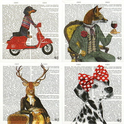4x Single Table Party Paper Napkins for Decoupage Decopatch Animal Club mix