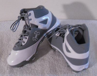 NEW Under Armour Spine Heater Mid TPU Boys Baseball Cleats 4 Grey/White $55