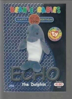 1999 TY Beanie Babie Series 2 Birthday/Rookie Card Echo Silver #254