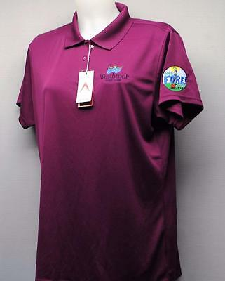 New Ladies XL Antigua Exceed short sleeve polyester golf polo shirt magenta