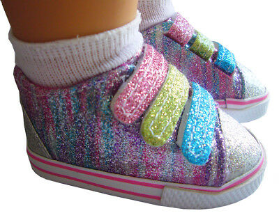 """Glitter Colorful Rainbow Sneakers Shoes made for 18"""" American Girl Doll Clothes"""