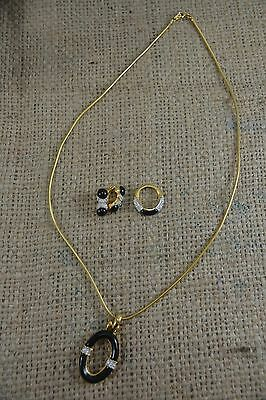 VINTAGE 1980s D'ORLAN gold black enamel and diamante set; necklace earrings ring