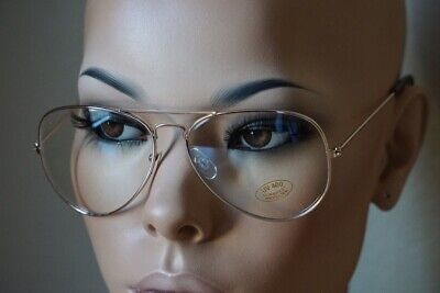 CLASSIC VINTAGE RETRO AVIATOR Clear Lens EYE GLASSES Gold Metal Fashion Frame