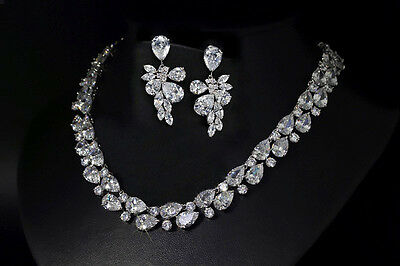 18k White Gold Necklace Earrings Set made w/ Swarovski Crystal Bridal Jewelry