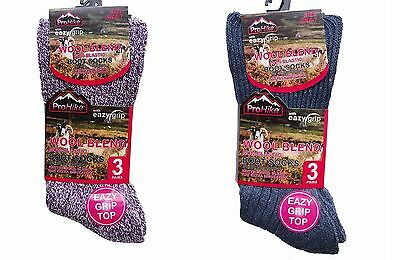 6, Pairs Men's Ladies  Gentle Grip Non Elastic Chunky Wool Diabetic Boot Socks