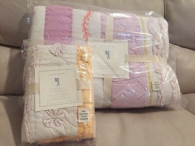 2pc NWT Pottery Barn Kids Bailey Ruffle twin quilt / standard sham coral pink