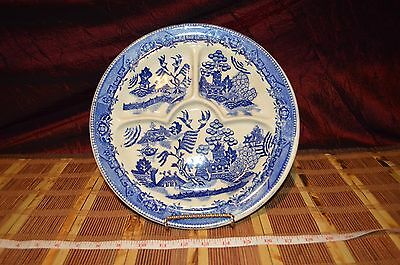 """Vintage Moriyama Pottery Blue Willow China Divided Dinner Plate Japan Made 11"""""""