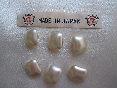 6 VINTAGE OBLONG CREAM PEARL BUTTONS  with 2 HOLES