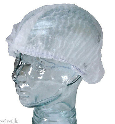 Disposable Non Woven Mob Caps / Hats White (food hygiene) - pack of 100 caps