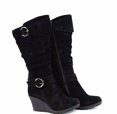 e62dff3b302 Women s Black Suede Round Toe Casual Shoes Boots Wedges Heels Platform