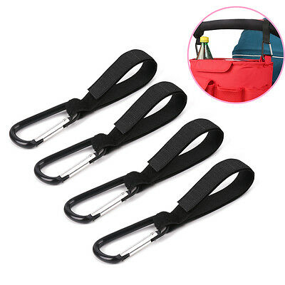 4 x Universal Mummy Buggy Clip Pram Pushchair Stroller Hook Shopping Bag Holder