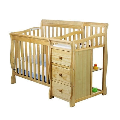 Dream On Me Jayden 4-in-1 Mini Convertible Crib and Changer in Natural
