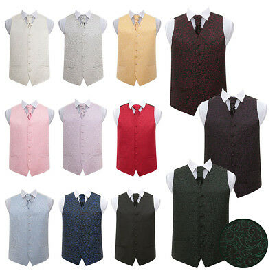 DQT High Quality Swirl Men's Wedding Waistcoat Vest with Cravat & Hanky Set