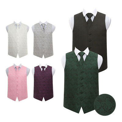 DQT High Quality Paisley Floral Mens Wedding Waistcoat Vest with Necktie & Hanky