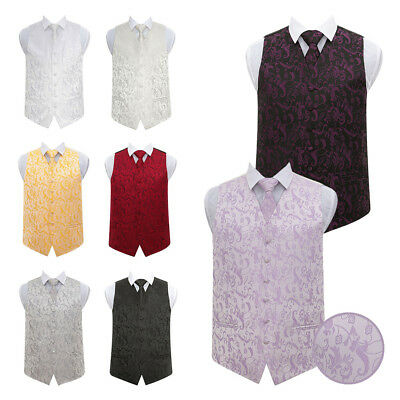 DQT High Quality Passion Floral Mens Wedding Waistcoat Vest with Necktie & Hanky