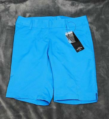 New Ladies Size 4 Adidas ClimaLite 100% polyester bermuda golf shorts Solar Blue