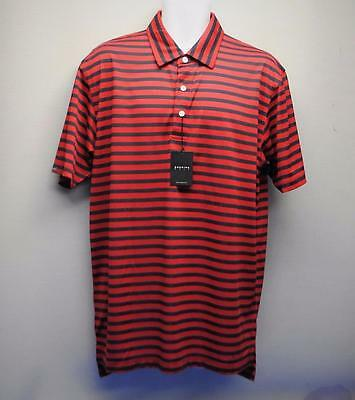 New Mens Dunning Golf polyester golf polo shirt NWT LARGE Red Navy striped