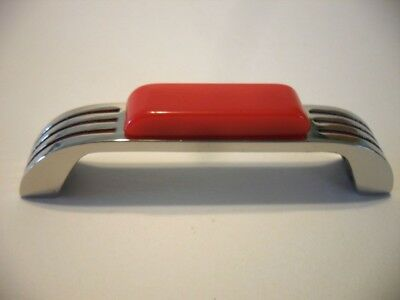 Vtg NOS Nickel Drawer Pulls Dark RED Lines Bakelite Trim Cabinet Handle ART DECO