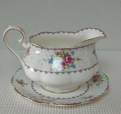 PETIT POINT Royal Albert Large ROUND GRAVY BOAT & UNDERPLATE Bone China England