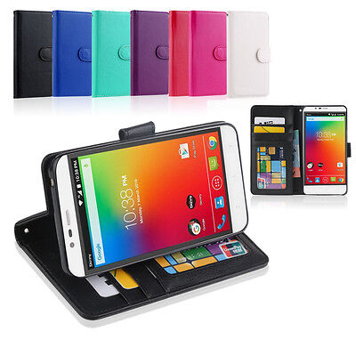 Premium Leather Wallet Case Cover for ZTE Blade A462 + Screen Protector