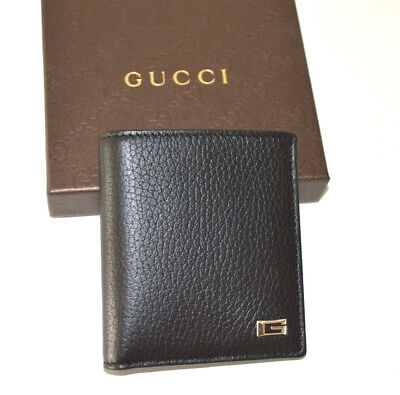 a35c157598d1 Gucci 252080 Men's wallet Black Leather Bifold Wallet w ID Window