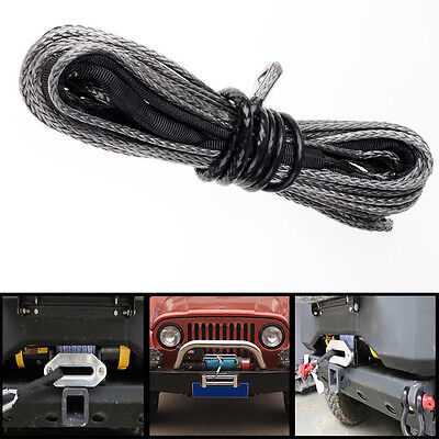 "50'x1/4"" Car Black Dyneema Synthetic Winch Cable Recovery Replacement Tow Rope"