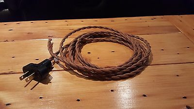 8' Brown Twisted Cloth Covered Wire & Plug, Vintage Light Rewire Kit, Lamp Cord