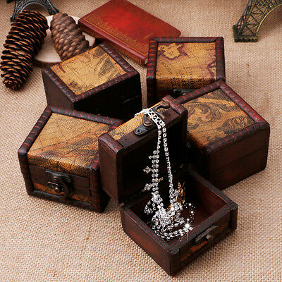 Wooden Map Jewellery Ring Neclace Cufflinks Storage Box Case Treasure Chest Gift