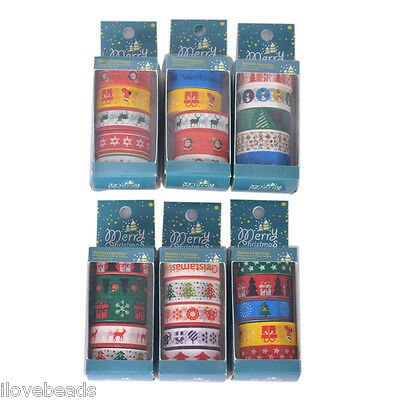 5Roll Washi Adhesive Tape Merry Christmas Decoration DIY Scrapbooking Craft 15mm