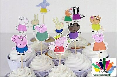 12 x Peppa Pig & Friends CUPCAKE CAKE TOPPERS Party Jelly Cup *Superb Quality*