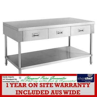 Fed Commercial Work Bench With 3 Drawers And Undershelf Stainless Swbd-7-1500