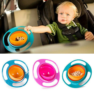 Kids Non Spill Feeding Toddler Gyro 360 Rotating Avoid Food Spilling Bowl New