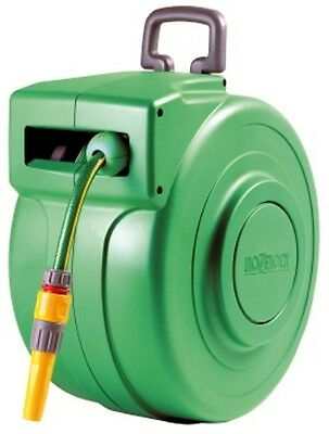 NEW Hozelock 20m Automatic Retractable Hose Reel wall mount with hose + spraygun