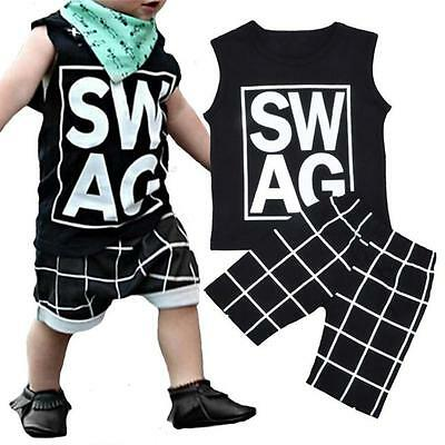 2pcs Newborn Toddler Kids Baby Boys Outfits grid T-shirt Tops+Shorts Clothes Set