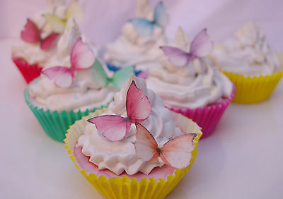 Butterfly Cake Decoration Princess 30pc Mini Rainbow Rice Paper Edible