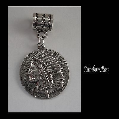 PEWTER CHARM suit European Bracelet #2020 NATIVE INDIAN CHIEF (20mm wide)