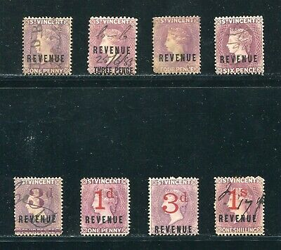 St. Vincent Revenues Includes Scarce Victoria Provisional 1884/88