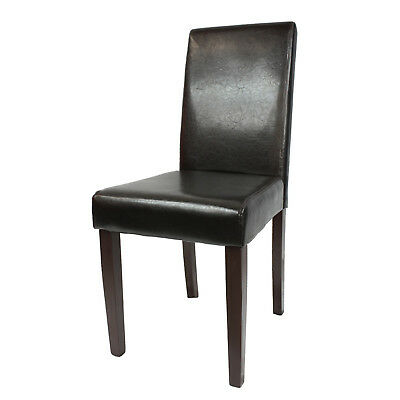 Dining Chair Modern Faux Leather Black Brown Solid Pine Smart Swiss Montina