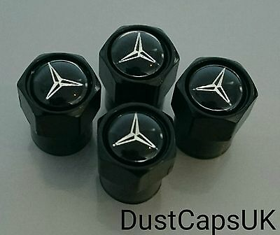 MERCEDES Black Wheel Tyre Valve Dust Caps for A-Class B-Class C-Class SL SLK AMG