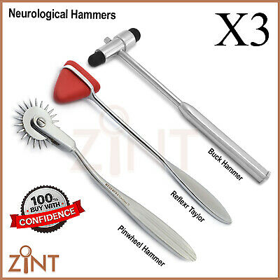Set of Neurological Reflex Taylor Buck Hammer Pinwheel Medical Diagnostic CE SS