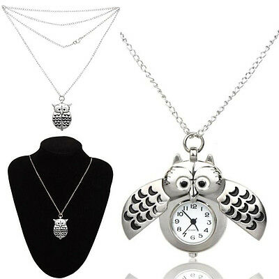 547dd46a3cf Mini Metal Owl double open Pendant Hanging Watch Quartz Analog Necklace  Watch UK