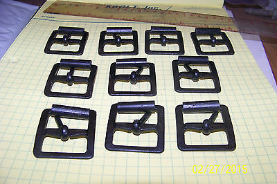 New Vintage US Military Flat Black Metal Strap Buckles 10 in lot 1 Inch strap