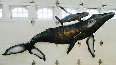 Whale Wall Sculpture Humpback Calf Baby Art 10' Hand Crafted Aluminum Metal USA