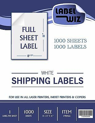 "1000 Full Sheet shipping Label - 8.5"" x 11"" (Same Size as Avery 5165)"